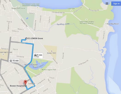 map showing distance of house from hospital.