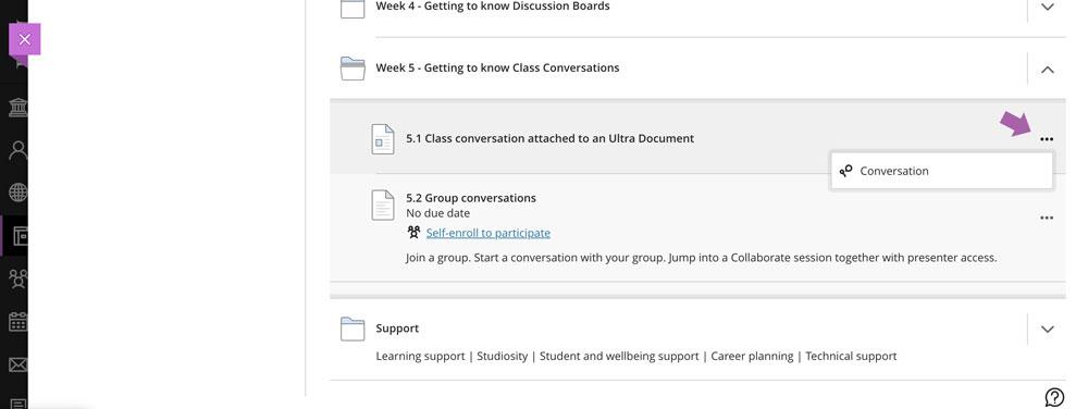 Accessing class conversations