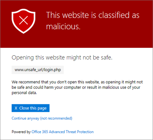 message when link is identified as malicious