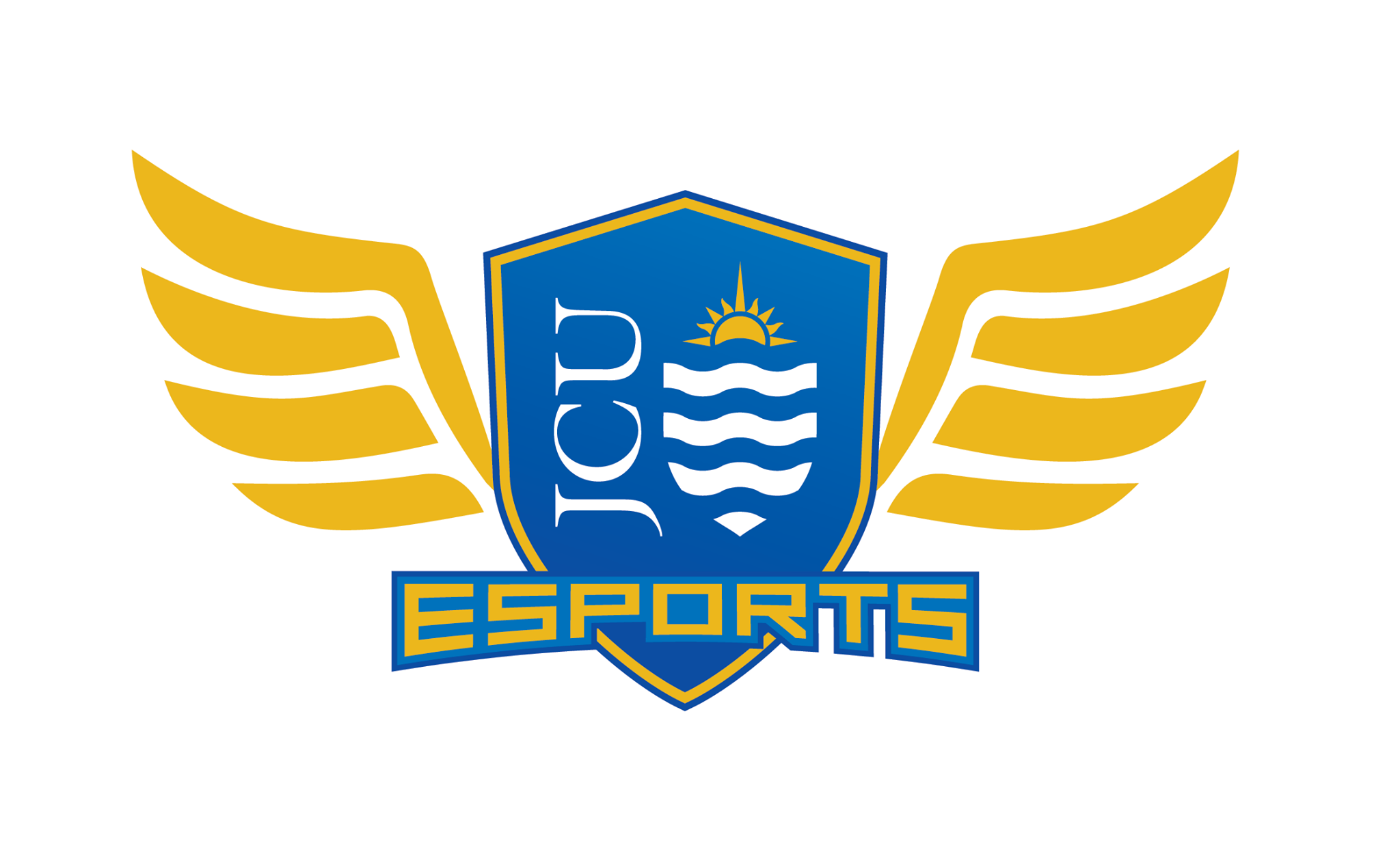 The eSports logo featuring a blue and gold shield with wings