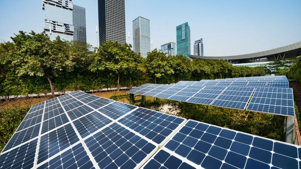 Solar panels in a city