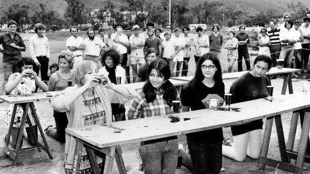 Beer drinking competition at JCU 1970s