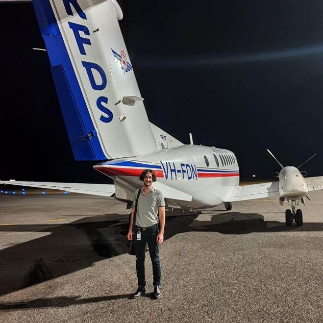 David Uprichard with RFDS plane