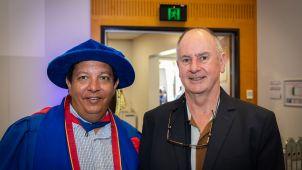 Tarun Sen Gupta and John McBride at MBBS 2020 graduation
