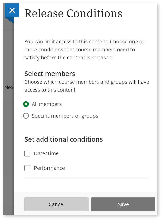 Image shows a screenshot of the 'Release Conditions' settings panel