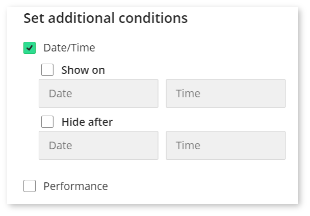 Image shows a screenshot of setting the Date/Time condition. First step - Date/Time box ticked.