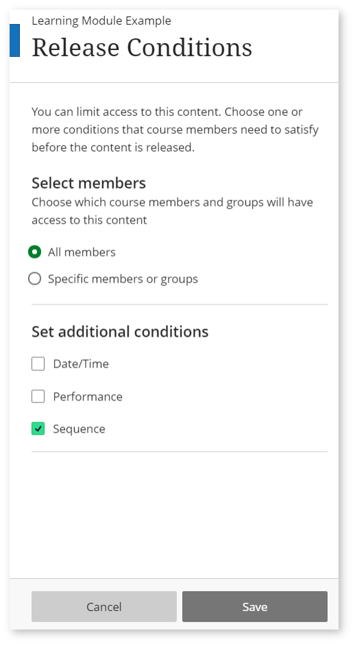 Image shows a screenshot of the release conditions settings panel. Step 1 - Sequence box ticked.