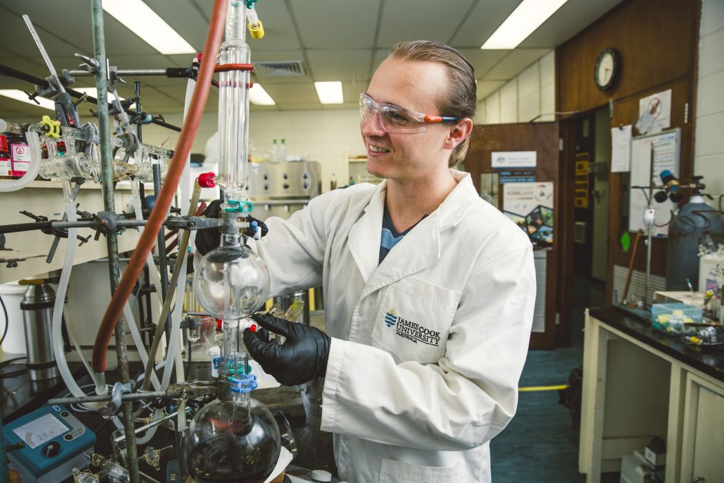 Jamie Mars in a chemistry lab