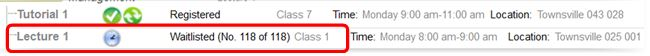 Screenshot showing the status of your wait list on the subject class registration grid.