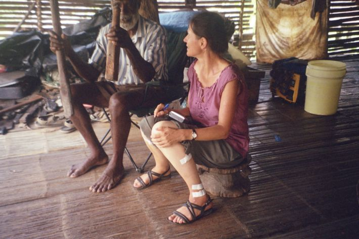 Professor Aikhenvald speaking with a local in PNG