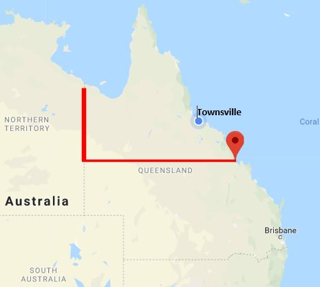 QLD map showing the 22nd parallel south