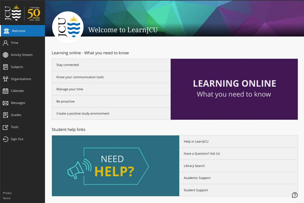 An example of the LearnJCU welcome page