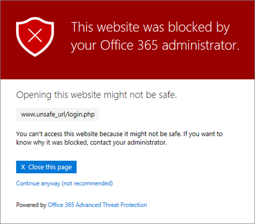 message when site is blocked by JCU.