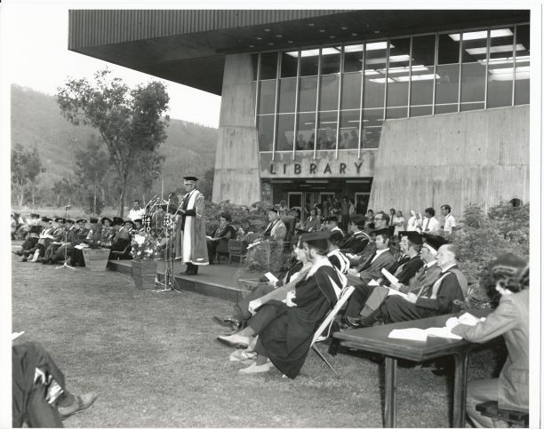 1972 graduation ceremony in front of jcu townsville library