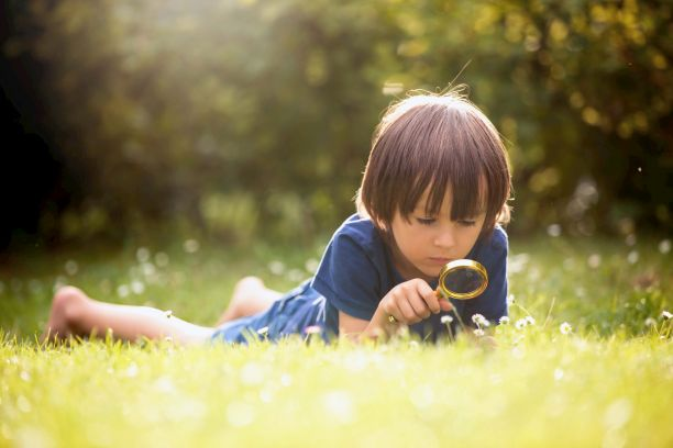 child with magnifying glass looking at grass