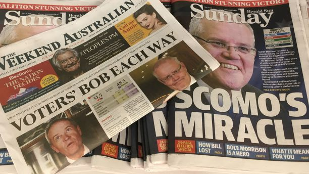 Newspapers reporting on election results