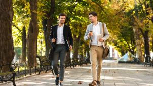 Businessmen walking to work