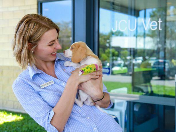 Female vet cuddles a puppy outside JCU Vet Clinic