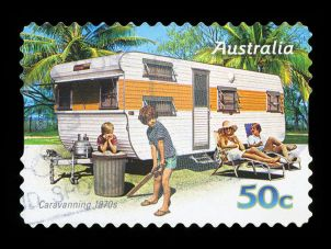 Postage stamp showing caravanning in 1970s Australia