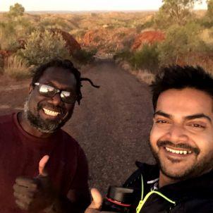 Two men smiling in outback Australia