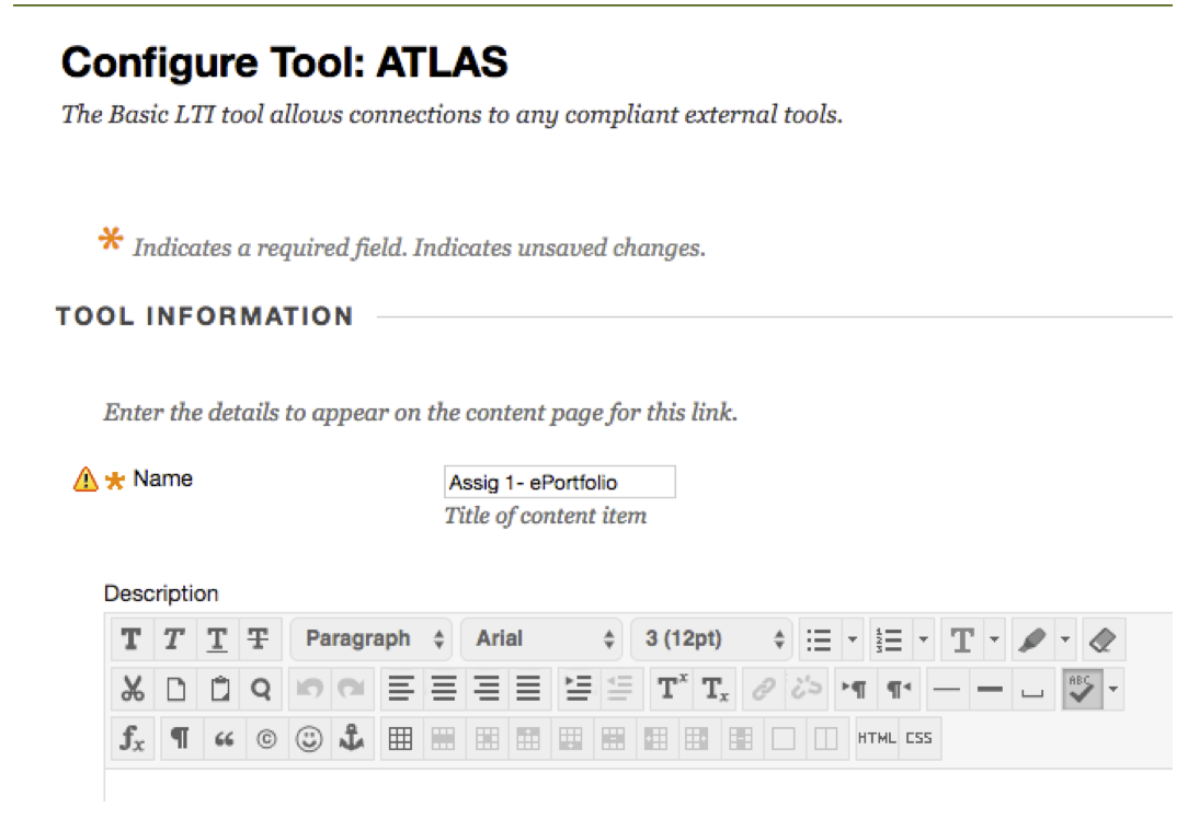 Screenshot of configuration tool: ATLAS