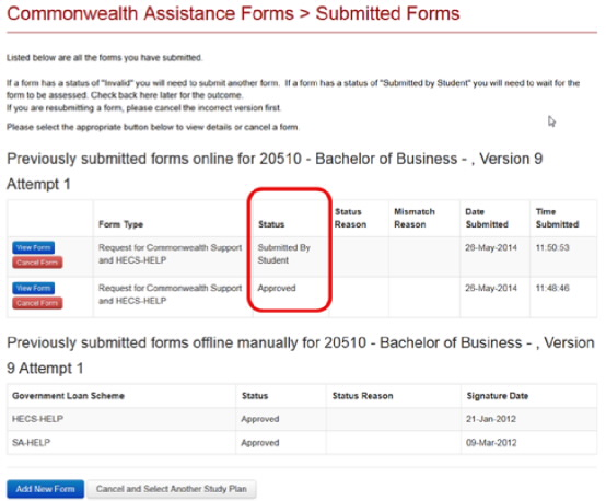 Example showing form status and available buttons, View Form and Cancel Form