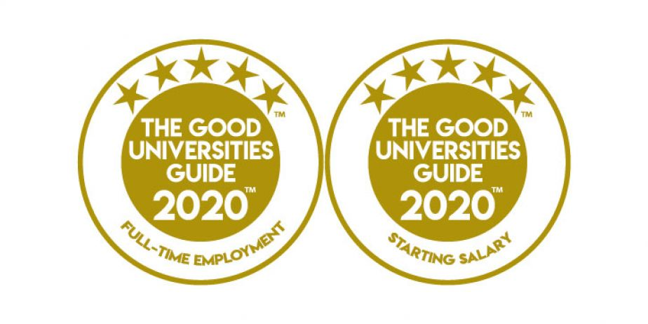 Two medallions showing 5 stars for full time employment and starting salary for the 2020 Good Universities Guide