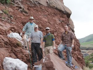 Researchers Prof. Robert Reisz, unknown field assistant, Dr. David Evans, A.Prof Eric Roberts (James Cook University) at the excavation site in South Africa