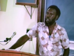 Eddie Koiki Mabo delivering a lecture at the JCU Townsville Campus in 1982