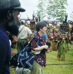 Maxine Whittaker attending a sing-sing in Papua New Guinea