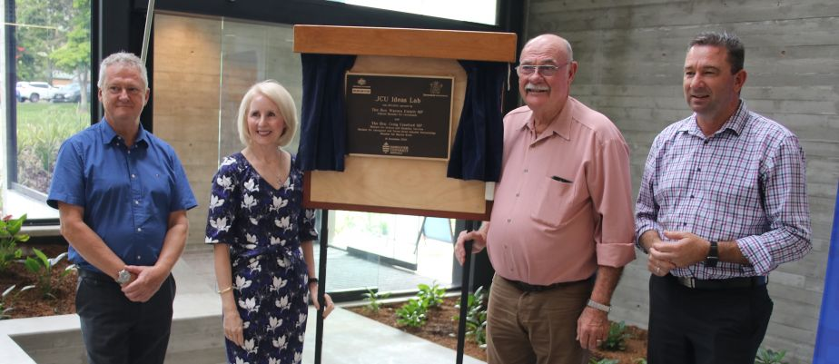 Professor Chris Cocklin, Professor Sandra Harding, Leichhardt MP Warren Entsch and State Member for Barron River Craig Crawford unveiling the plaque for the new building