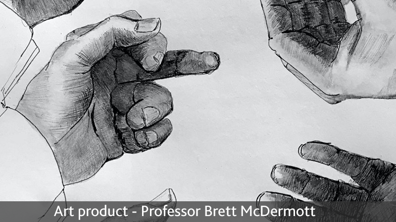 pencil drawing of hands.