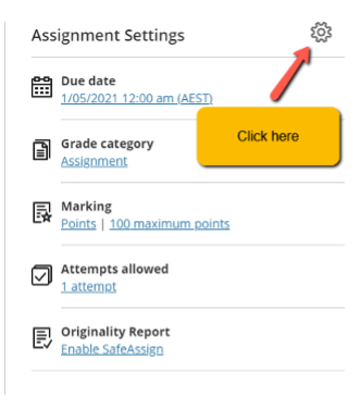 Screenshot of where you can find the Assignment Settings