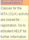 Screenshot showing registration closed message.