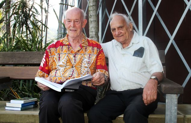 Bob Dixon and Ernie Grant with the Dyirbal dictionary