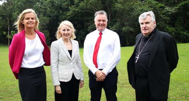 (From Left) Catholic Education Services Acting Executive Director Sally Towns, Vice Chancellor Sandra Harding, Campus Director David Craig and Bishop James Foley at the proposed site for a secondary college on JCU's Smithfield campus.