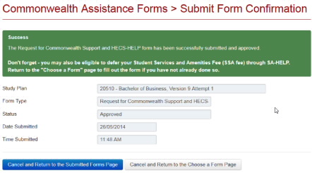 Screenshot showing Success Message The Request for Commonwealth Support and HECS-HELP form has been successfully submitted and approved...