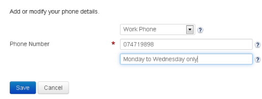 Screenshot showing Phone > Change details window where you can add or modify phone details and use save button