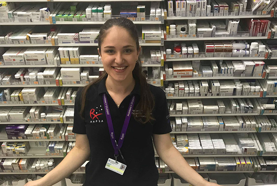Emma Dall'Alba in local pharmacy on placement