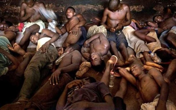 Photograph of overcrowded people in Ghanaian prison