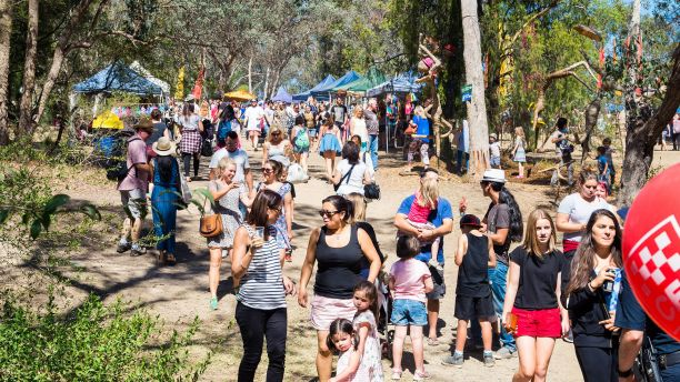 Crowds attend the Warrandyte Music Festival