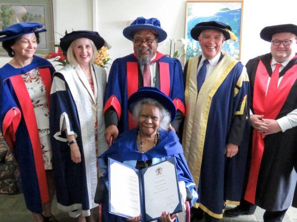 Eddie's wife, the late Bonita Mabo AO, accepting honorary degree