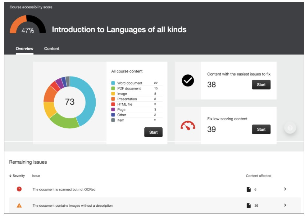Sample course accessibility report