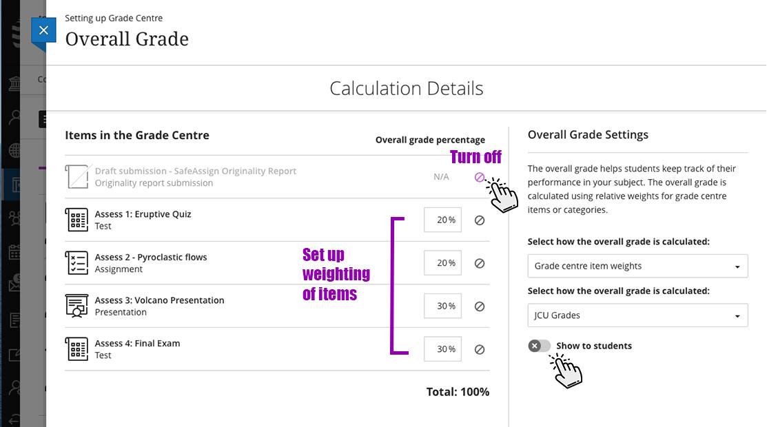 Screenshot of weighting assessment items