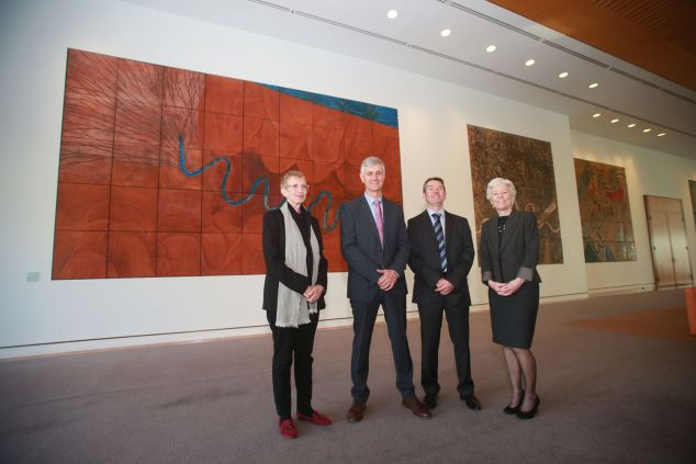 Prof Sean Ulm stands with colleagues at the launch of the Centre of Excellence for Australian Biodiversity and Heritage
