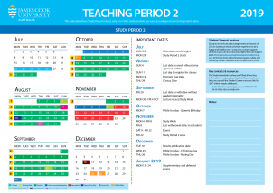 2019 TP2 Academic Calendar