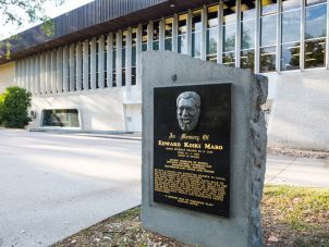 A plaque of Eddie Koiki Mabo outside the Eddie Koiki Mabo Library