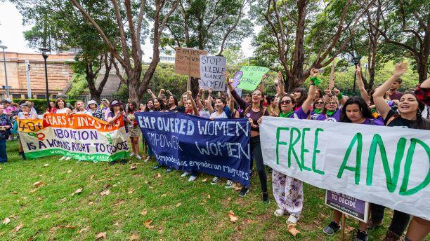 large group of female demonstrators.