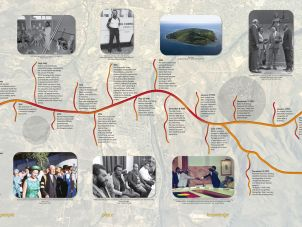 A look at panel 2 of the Mabo Interpretive Wall, which tells the story of Mabo