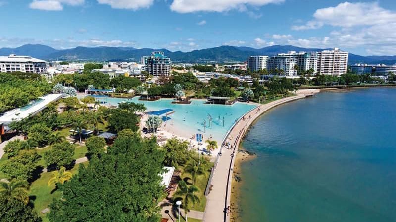 Aerial shot of Cairns Esplanade